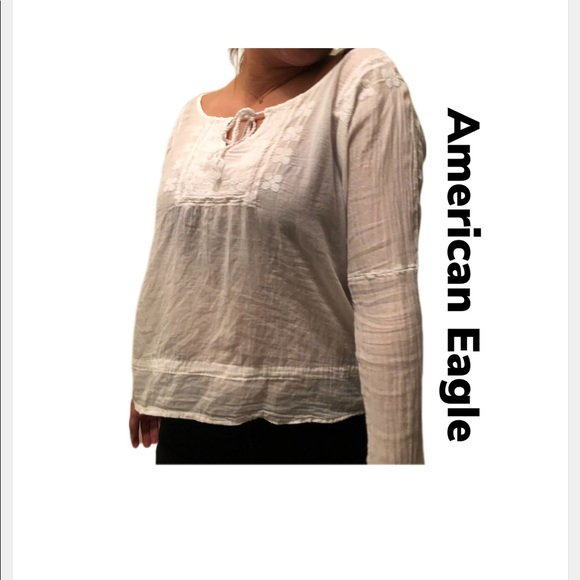 e347ba89bec American Eagle Outfitters Tops | American Eagle Size Xs White Gauze ...